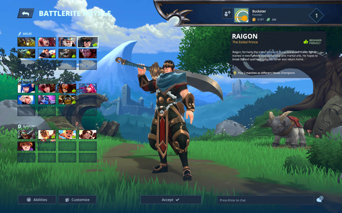 Battlerite Royale Character Screen